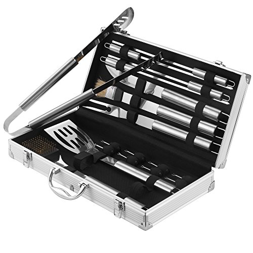 18 Piece Stainless Steel Bbq Utensil Set Free Aluminium